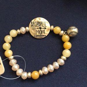 Baseball mom beaded bracelet